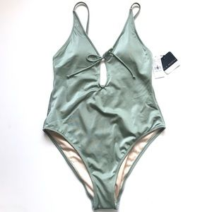 8c003bddd0556 La Hearts Swim - L.A. Hearts Sage Green Keyhole Low Back Swim NWT